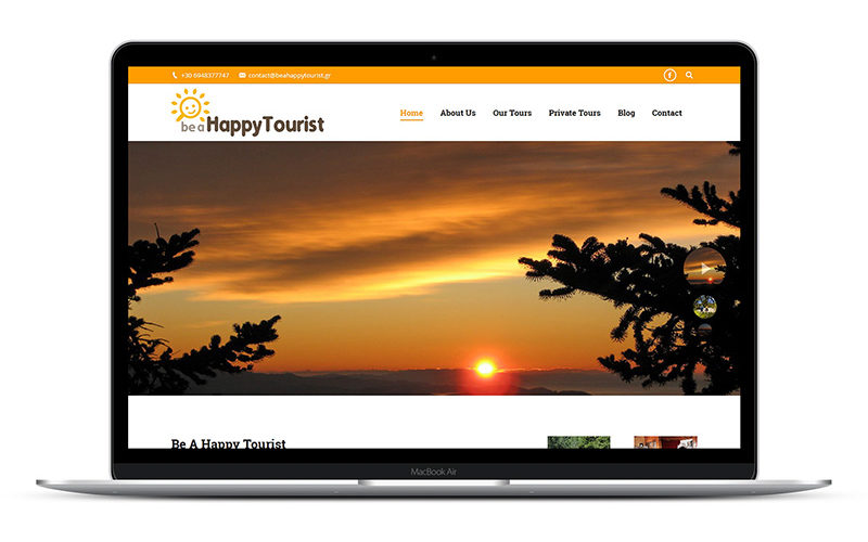 Be A Happy Tourist - Σχεδιασμός και κατασκευή ιστοσελίδας