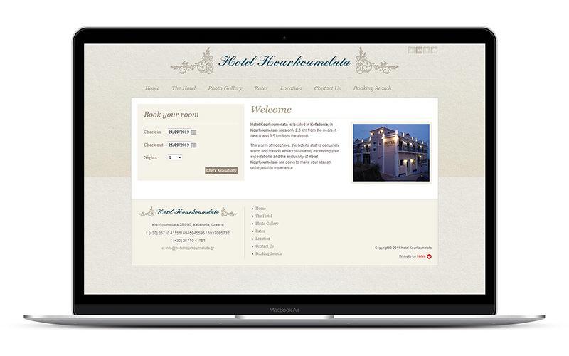 Hotel Kourkoumelata - Σχεδιασμός και κατασκευή ιστοσελίδας